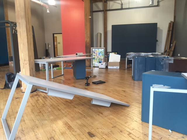 Furniture at the former Sabo PR office being taken apart and packed up for our new digs.