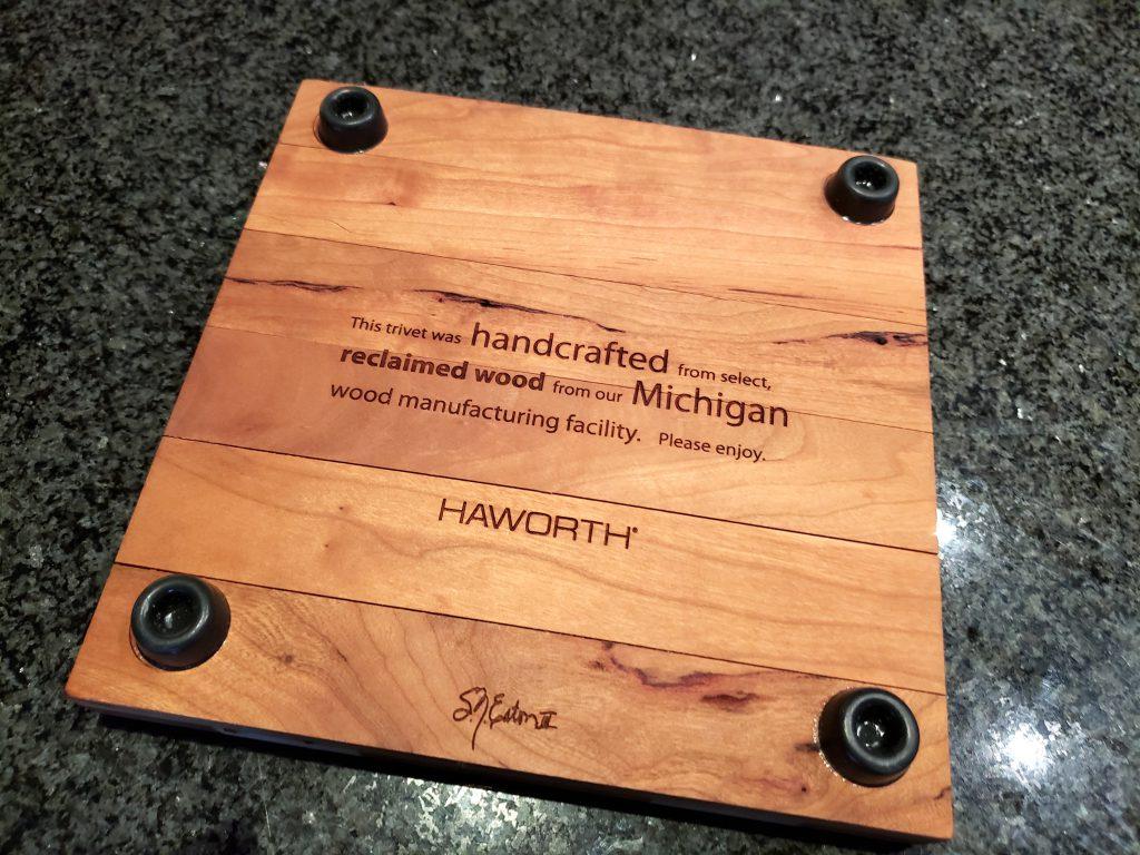 Haworth Corporate Gift Trivet Backside