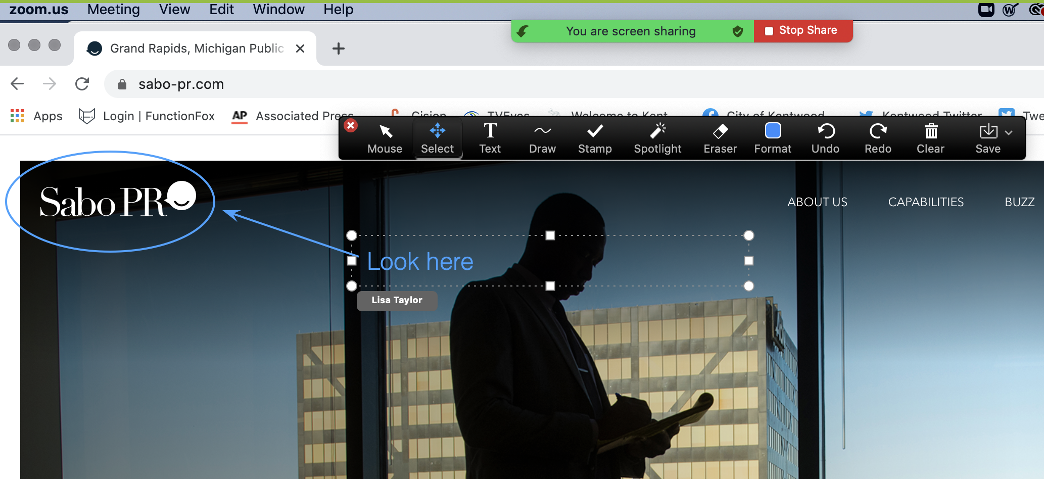 Zoom tech tool that allows you to annotate on a shared screen. Annotation tools, such as draw and add text, are displayed at the top of the screen.