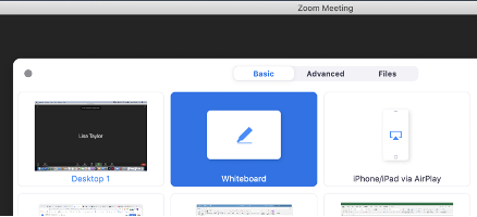 The Zoom tech tool that allows you to screenshare a virtual whiteboard. This screenshot shows the Whiteoard option is in the middle top of the screen share options.