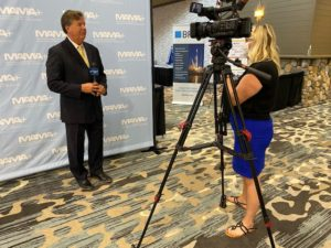Gavin Brown, executive director of Michigan Aerospace Manufacturers Association, being interviewed during the 2021 North America Space Summit